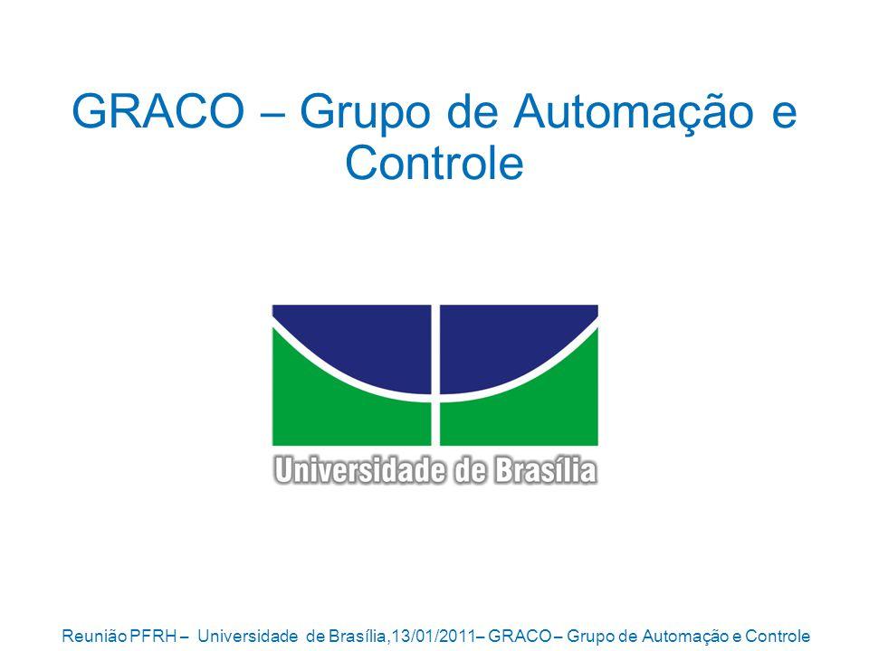Reunião PFRH – Universidade de Brasília,13/01/2011– GRACO – Grupo de Automação e Controle 2 GRACO Grupo de Automação e Controle Estrutura 13 Professores 4 Laboratórios Programa de Pós-Graduação em Sistemas Mecatrônicos 40 alunos de mestrado 10 alunos de doutorado Linhas de Pesquisa Controle e Automação em Processos de Fabricação Robótica e Visão Computacional Automação Industrial e da Manufatura Sistemas Reconfiguráveis Controle de Sistemas Offshore Materiais Funcionais e Estruturas Adaptativas