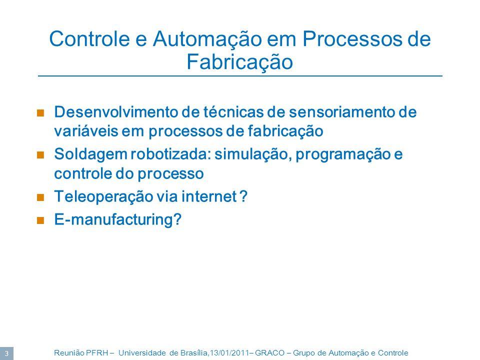 Reunião PFRH – Universidade de Brasília,13/01/2011– GRACO – Grupo de Automação e Controle 4 Robótica e Visão Computacional Desenvolvimento de robôs Técnicas de navegação em robôs móveis Visão computacional: Detecção de movimento Reconstrução 3D Visão omnidirecional (360) Calibração de câmeras Calibração de robôs