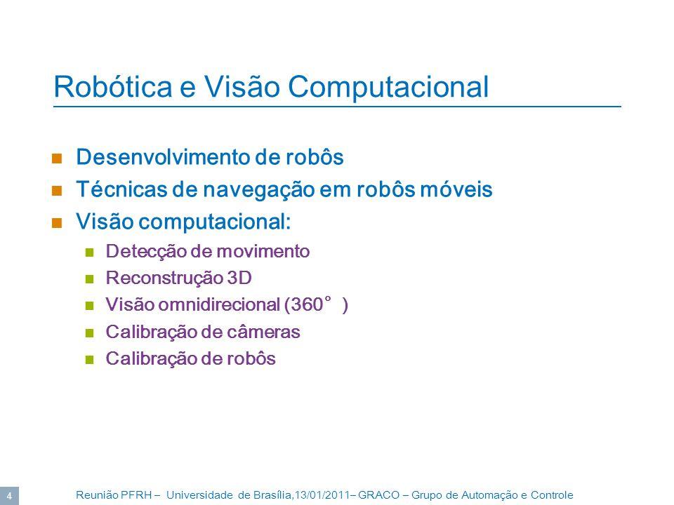 Reunião PFRH – Universidade de Brasília,13/01/2011– GRACO – Grupo de Automação e Controle 4 Robótica e Visão Computacional Desenvolvimento de robôs Té