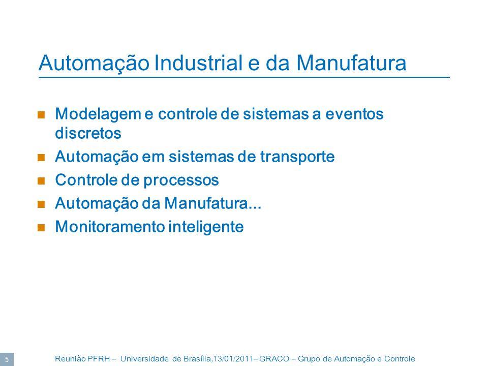 Reunião PFRH – Universidade de Brasília,13/01/2011– GRACO – Grupo de Automação e Controle 5 Automação Industrial e da Manufatura Modelagem e controle