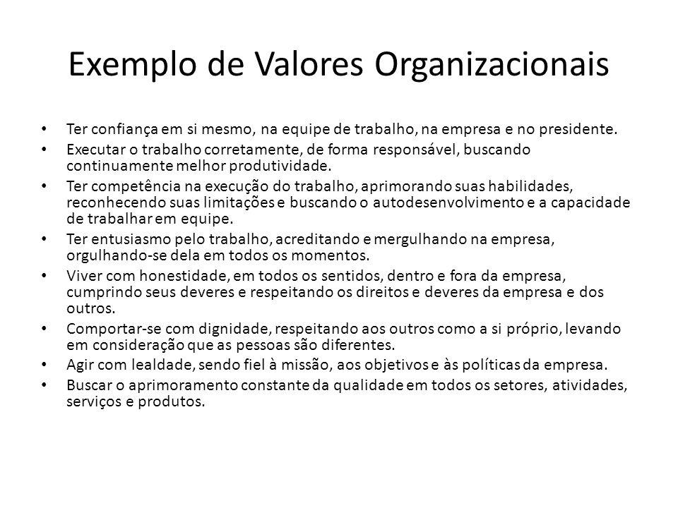 Exemplo de Valores Organizacionais Ter confiança em si mesmo, na equipe de trabalho, na empresa e no presidente. Executar o trabalho corretamente, de