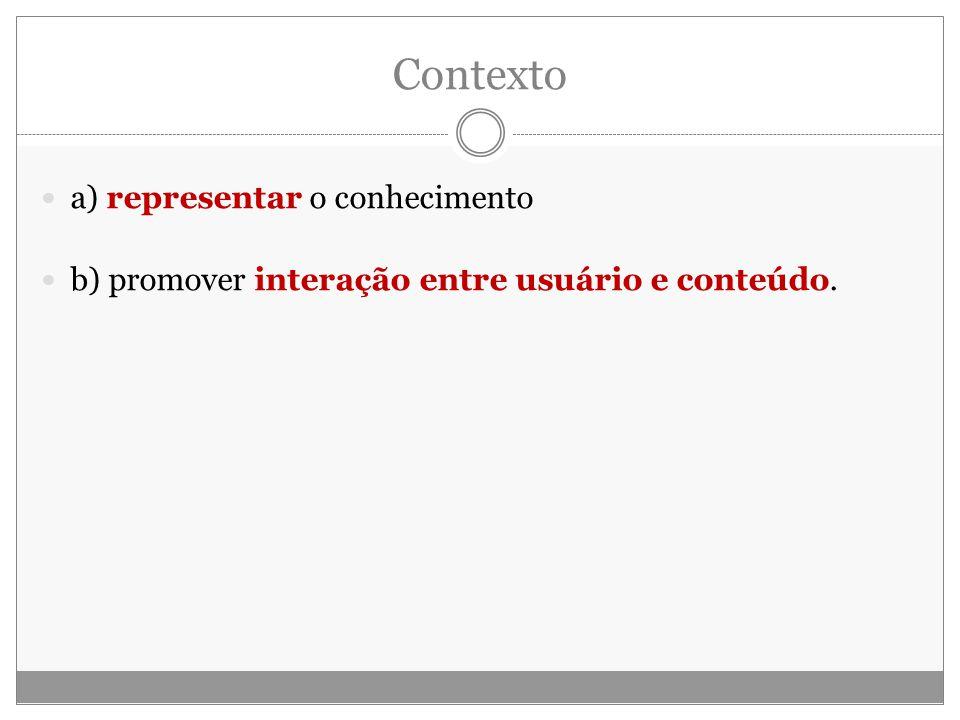 Contexto a) representar o conhecimento b) promover interação entre usuário e conteúdo.