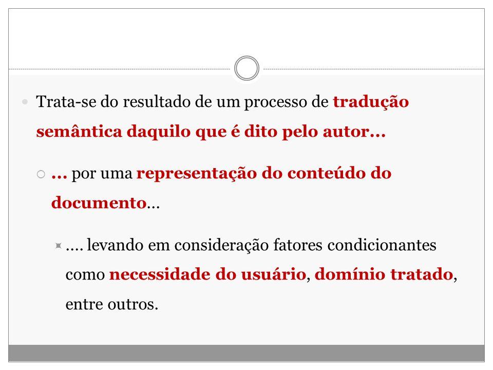 Trata-se do resultado de um processo de tradução semântica daquilo que é dito pelo autor......