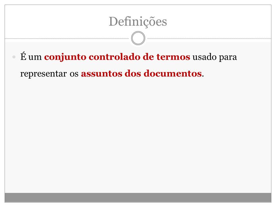 É um conjunto controlado de termos usado para representar os assuntos dos documentos.