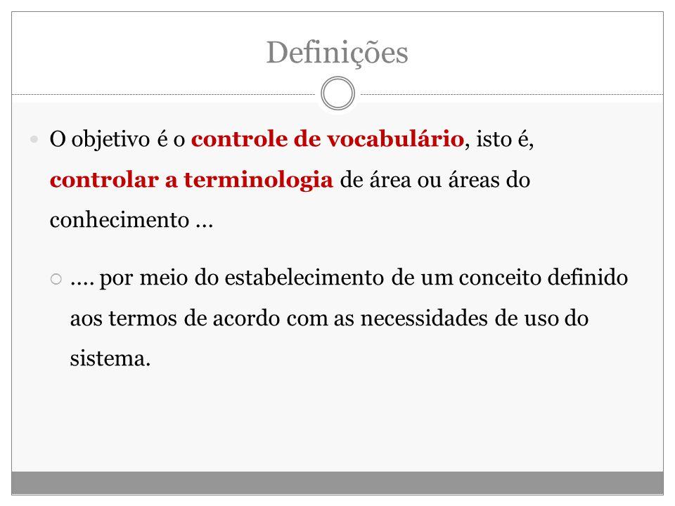 Definições O objetivo é o controle de vocabulário, isto é, controlar a terminologia de área ou áreas do conhecimento.......