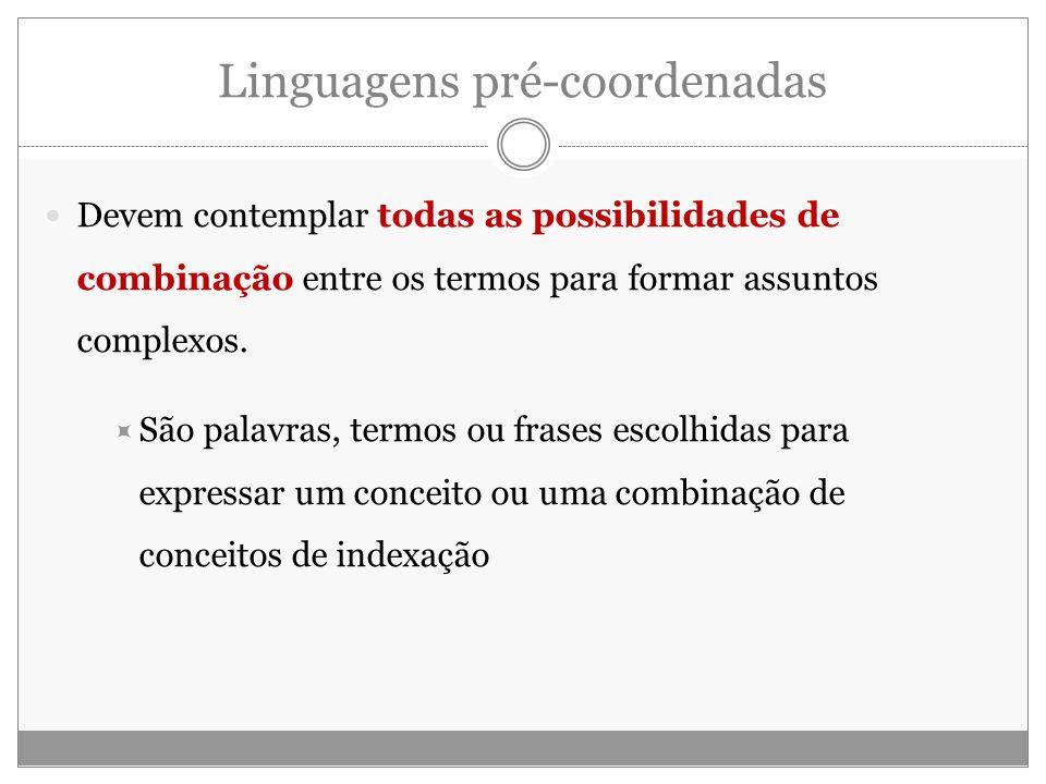 Linguagens pré-coordenadas Devem contemplar todas as possibilidades de combinação entre os termos para formar assuntos complexos.