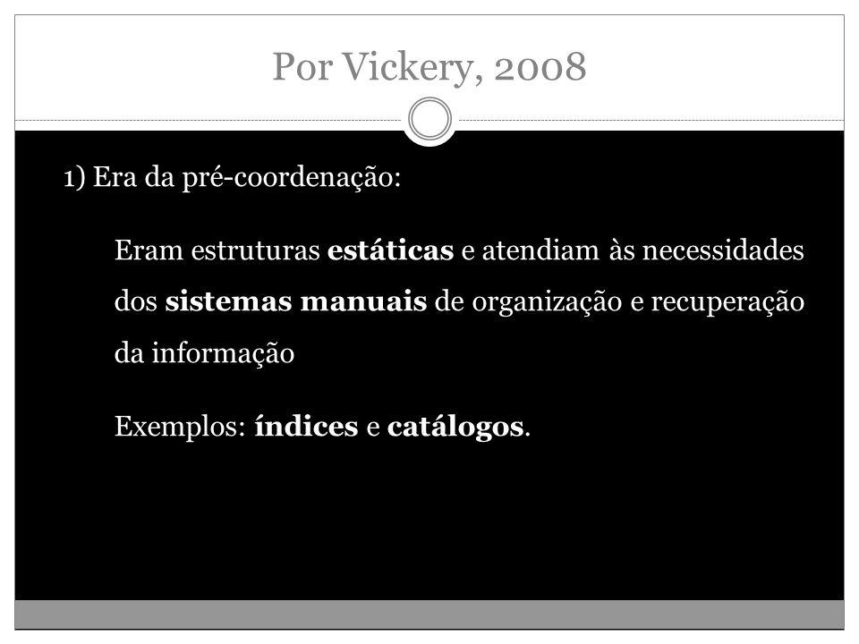 Por Vickery, 2008 1) Era da pré-coordenação: Eram estruturas estáticas e atendiam às necessidades dos sistemas manuais de organização e recuperação da informação Exemplos: índices e catálogos.