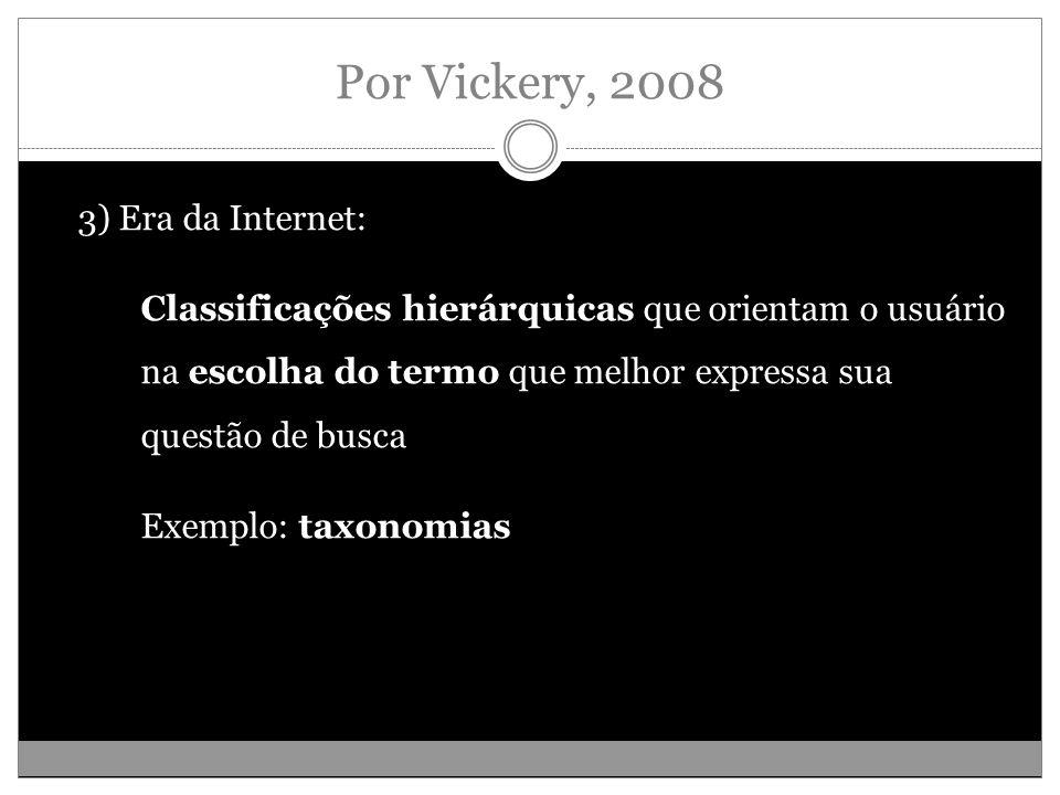 Por Vickery, 2008 3) Era da Internet: Classificações hierárquicas que orientam o usuário na escolha do termo que melhor expressa sua questão de busca Exemplo: taxonomias