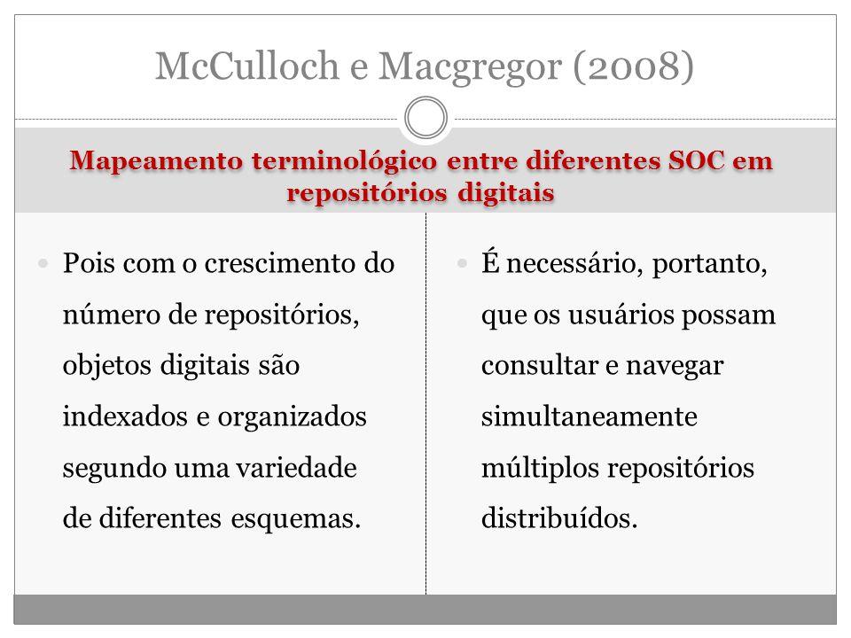 Mapeamento terminológico entre diferentes SOC em repositórios digitais Pois com o crescimento do número de repositórios, objetos digitais são indexados e organizados segundo uma variedade de diferentes esquemas.