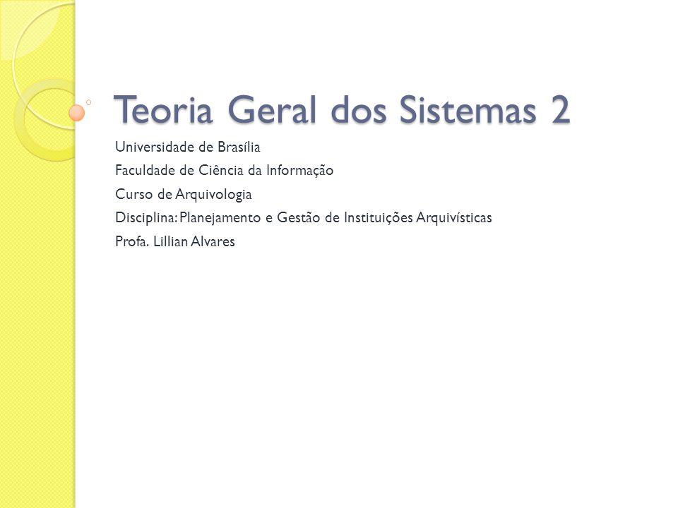 Teoria Geral dos Sistemas 2 Universidade de Brasília Faculdade de Ciência da Informação Curso de Arquivologia Disciplina: Planejamento e Gestão de Ins