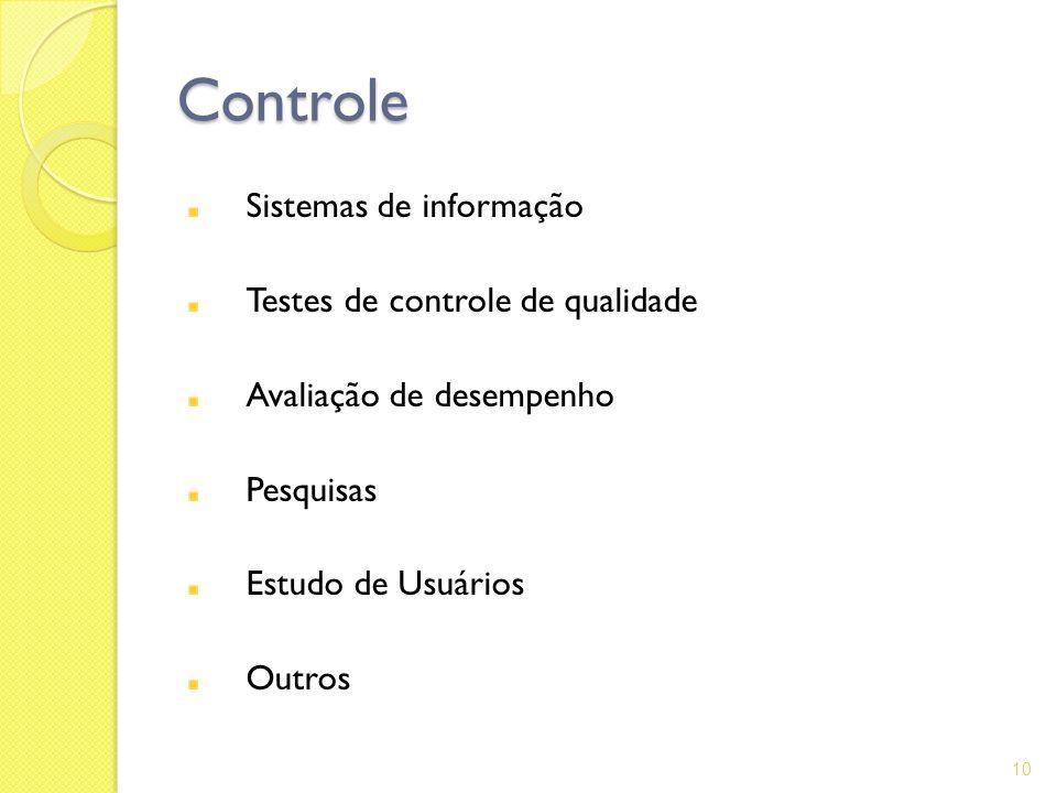 Controle Sistemas de informação Testes de controle de qualidade Avaliação de desempenho Pesquisas Estudo de Usuários Outros 10