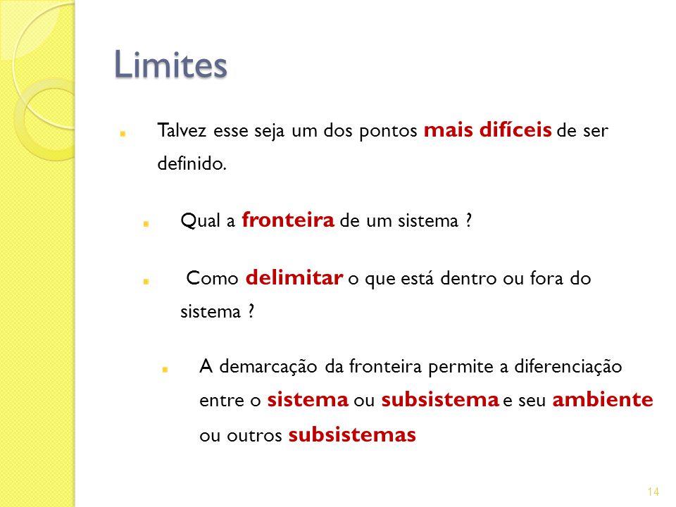 Limites Talvez esse seja um dos pontos mais difíceis de ser definido. Qual a fronteira de um sistema ? Como delimitar o que está dentro ou fora do sis