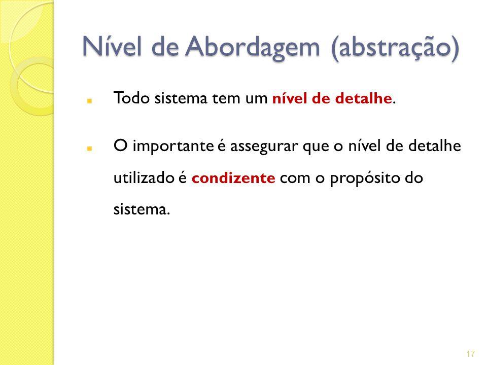 Nível de Abordagem (abstração) Todo sistema tem um nível de detalhe. O importante é assegurar que o nível de detalhe utilizado é condizente com o prop
