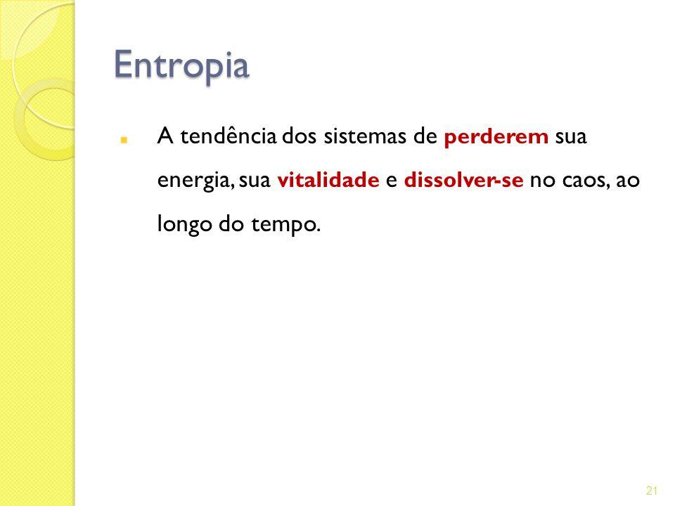 Entropia A tendência dos sistemas de perderem sua energia, sua vitalidade e dissolver-se no caos, ao longo do tempo. 21