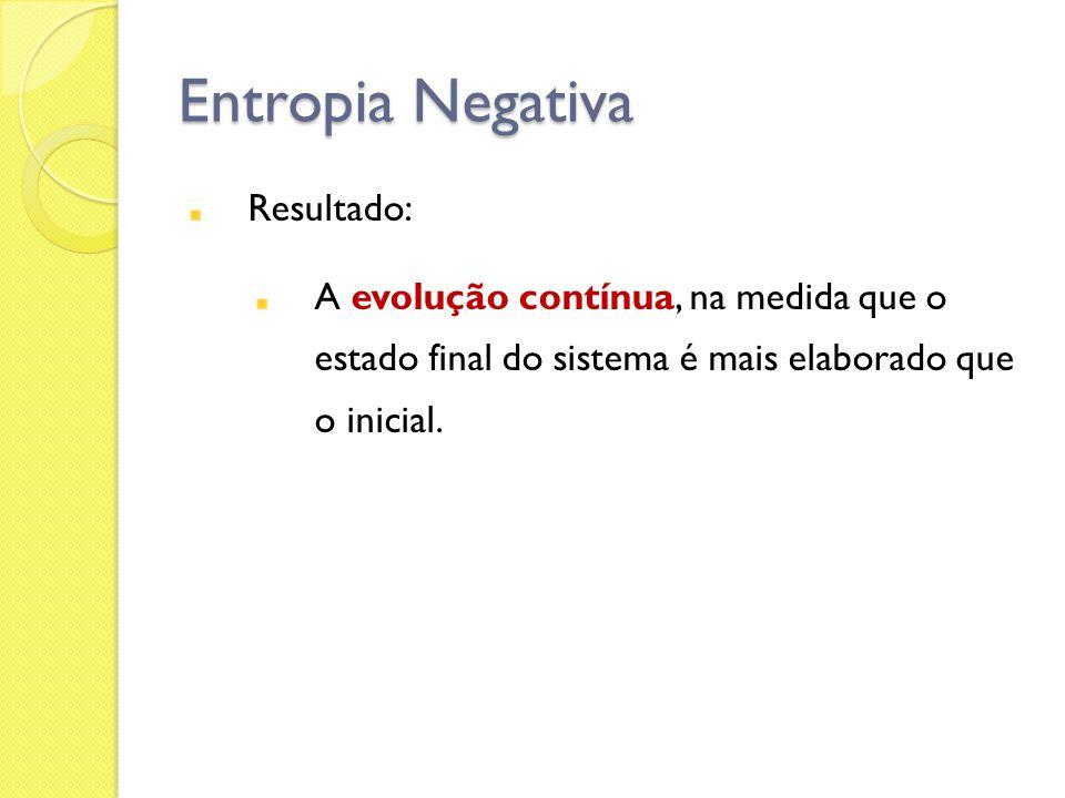 Entropia Negativa Resultado: A evolução contínua, na medida que o estado final do sistema é mais elaborado que o inicial.