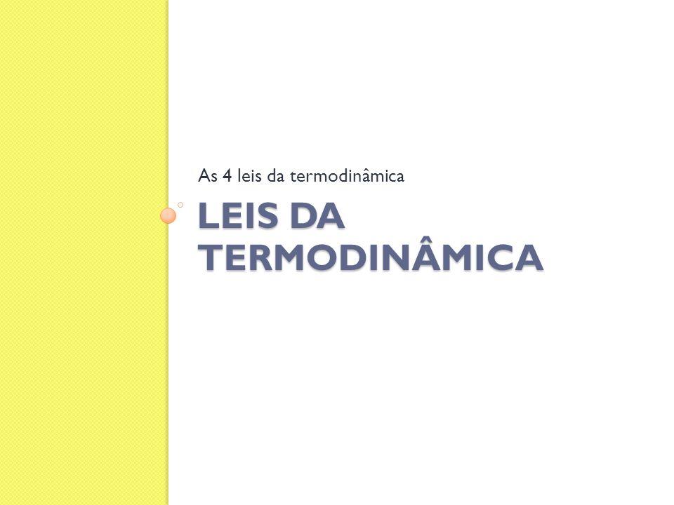 LEIS DA TERMODINÂMICA As 4 leis da termodinâmica