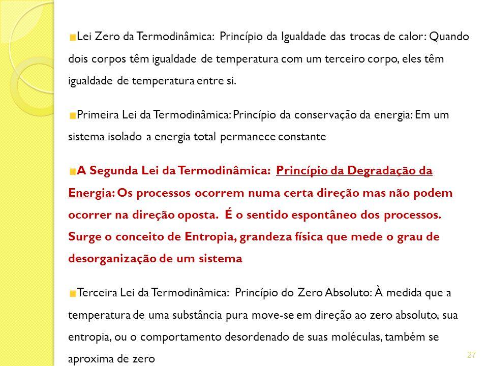 Lei Zero da Termodinâmica: Princípio da Igualdade das trocas de calor: Quando dois corpos têm igualdade de temperatura com um terceiro corpo, eles têm