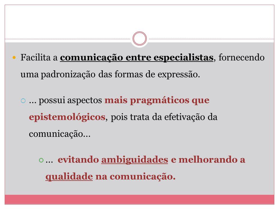 Facilita a comunicação entre especialistas, fornecendo uma padronização das formas de expressão.... possui aspectos mais pragmáticos que epistemológic