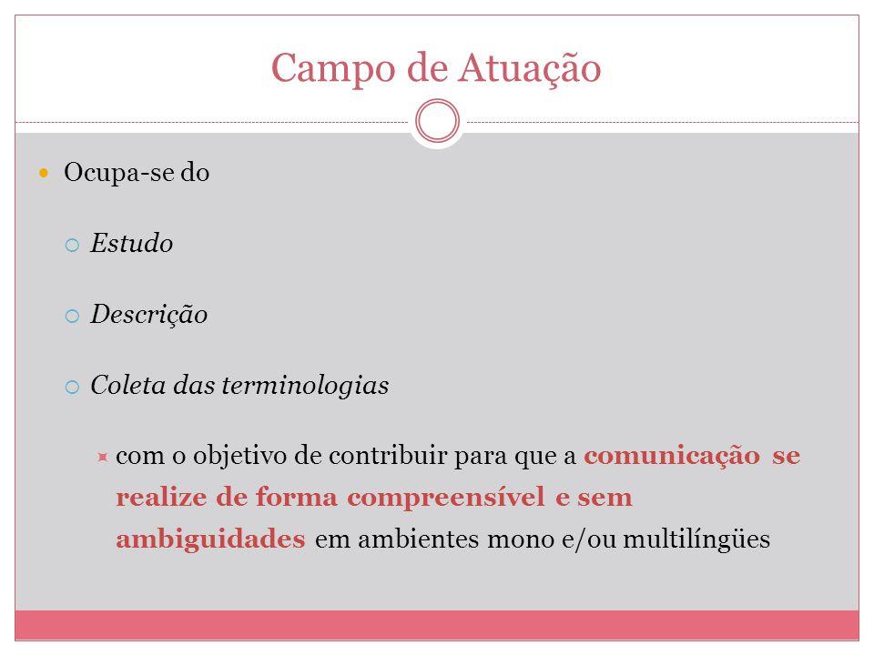 Campo de Atuação Ocupa-se do Estudo Descrição Coleta das terminologias com o objetivo de contribuir para que a comunicação se realize de forma compree