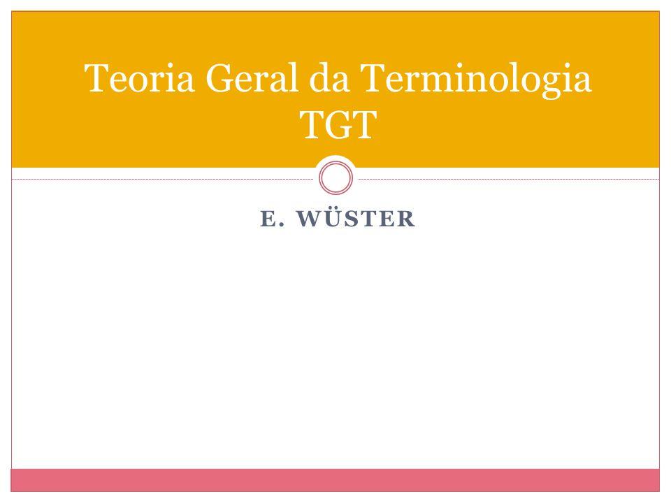 E. WÜSTER Teoria Geral da Terminologia TGT