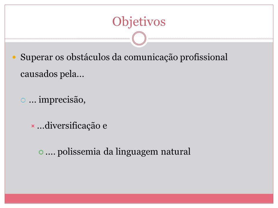 Objetivos Superar os obstáculos da comunicação profissional causados pela...... imprecisão,...diversificação e.... polissemia da linguagem natural