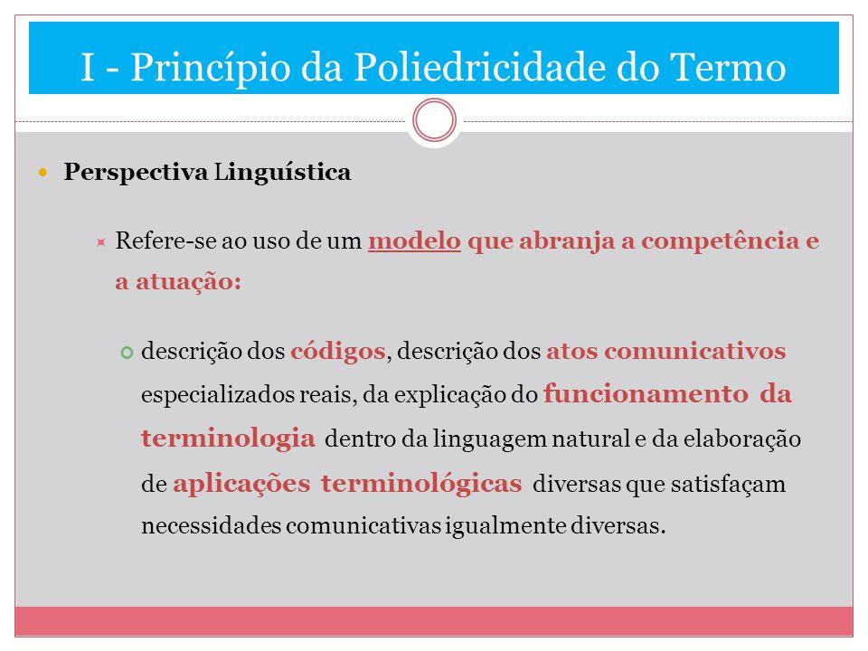 I - Princípio da Poliedricidade do Termo Perspectiva Linguística Refere-se ao uso de um modelo que abranja a competência e a atuação: descrição dos có