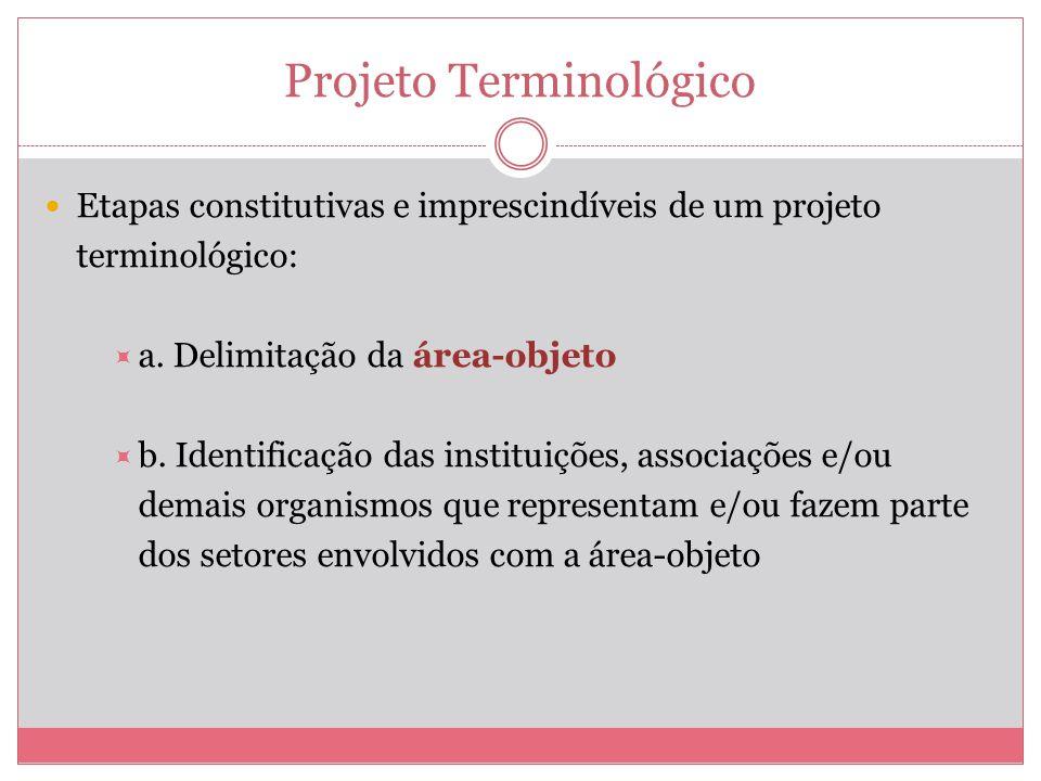 Projeto Terminológico Etapas constitutivas e imprescindíveis de um projeto terminológico: a. Delimitação da área-objeto b. Identificação das instituiç