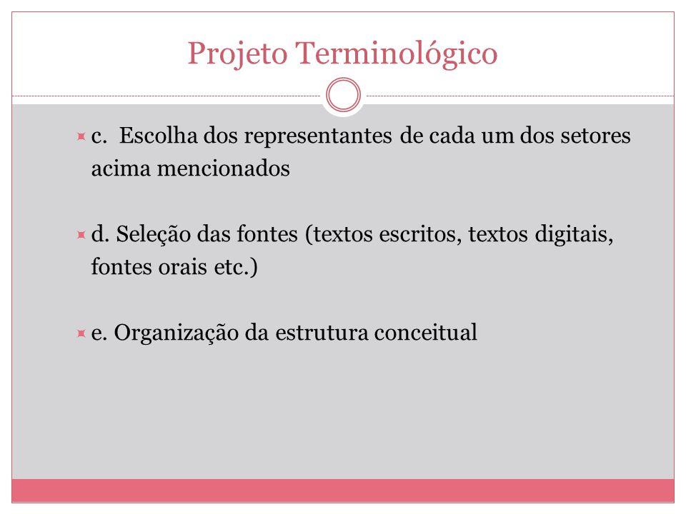Projeto Terminológico c. Escolha dos representantes de cada um dos setores acima mencionados d. Seleção das fontes (textos escritos, textos digitais,