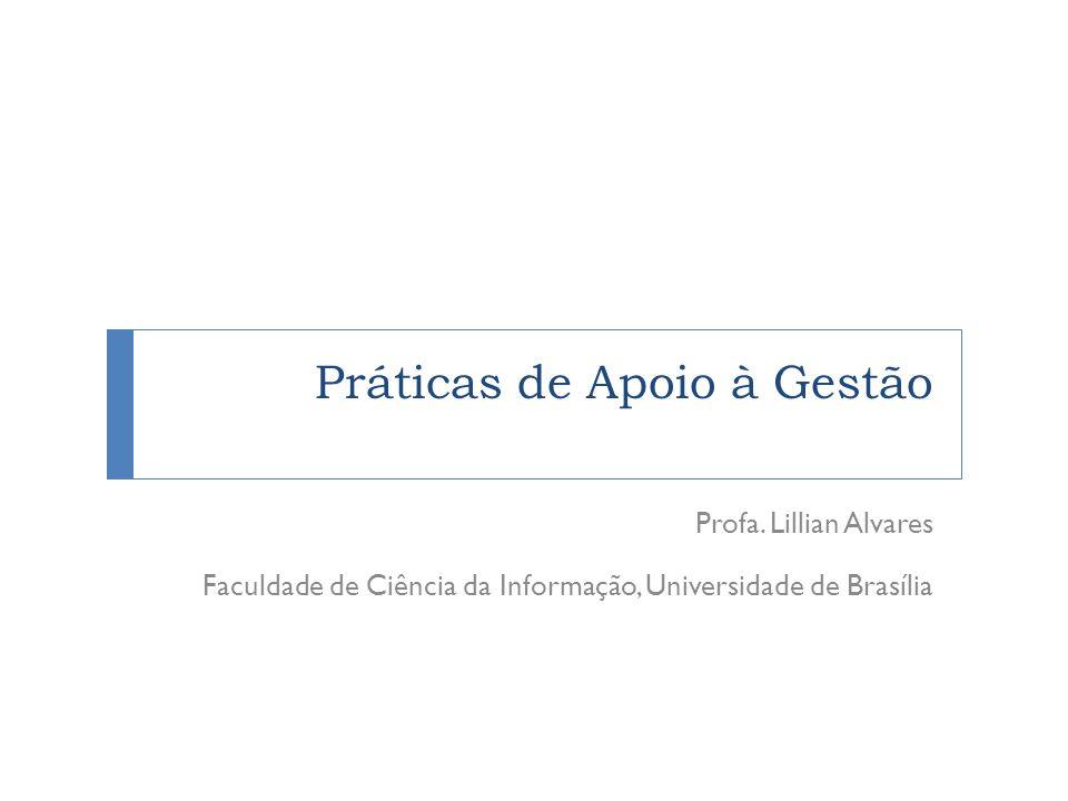 Práticas de Apoio à Gestão Profa. Lillian Alvares Faculdade de Ciência da Informação, Universidade de Brasília