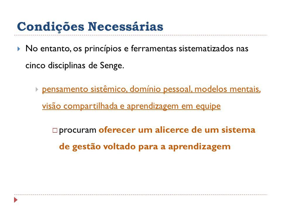 Condições Necessárias No entanto, os princípios e ferramentas sistematizados nas cinco disciplinas de Senge. pensamento sistêmico, domínio pessoal, mo