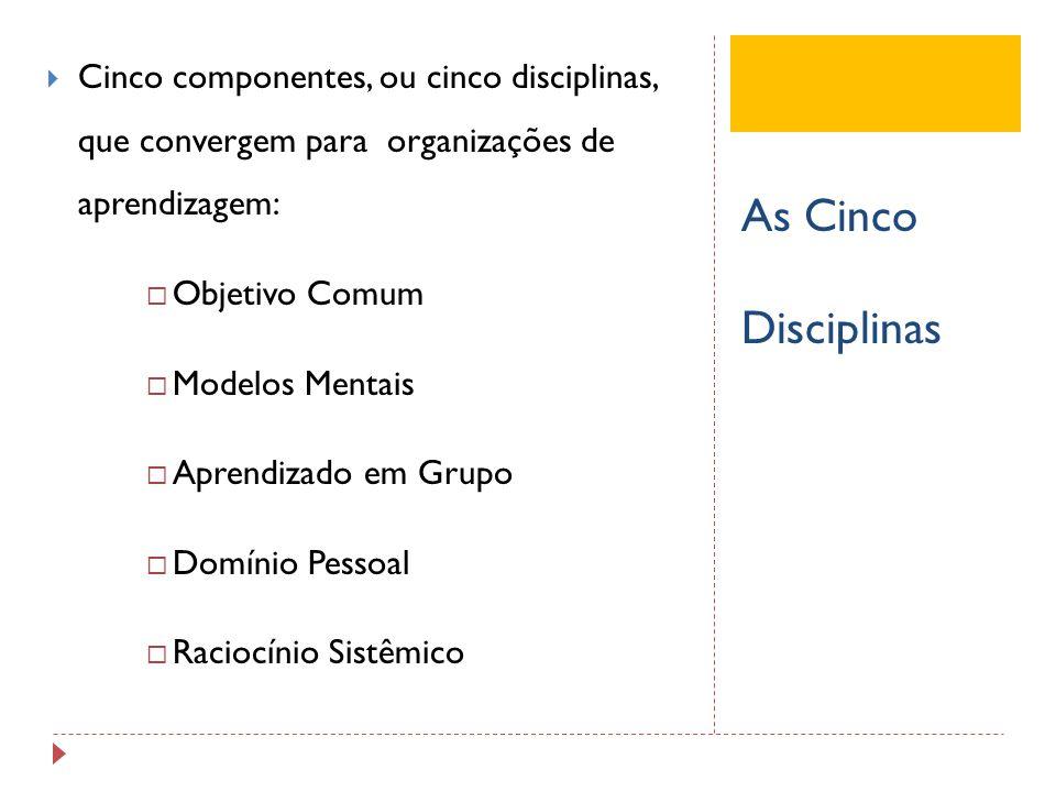 As Cinco Disciplinas Cinco componentes, ou cinco disciplinas, que convergem para organizações de aprendizagem: Objetivo Comum Modelos Mentais Aprendiz
