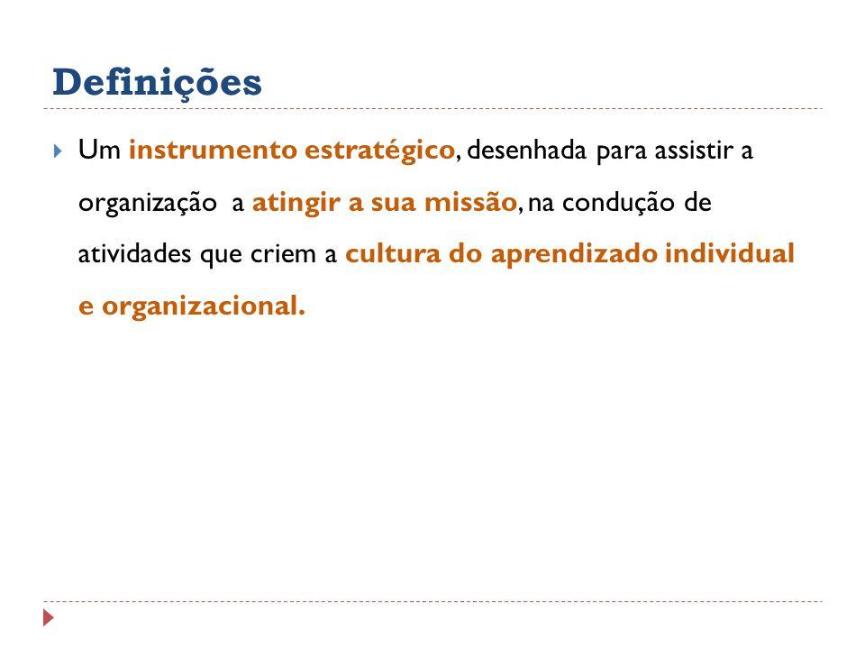 Definições Um instrumento estratégico, desenhada para assistir a organização a atingir a sua missão, na condução de atividades que criem a cultura do