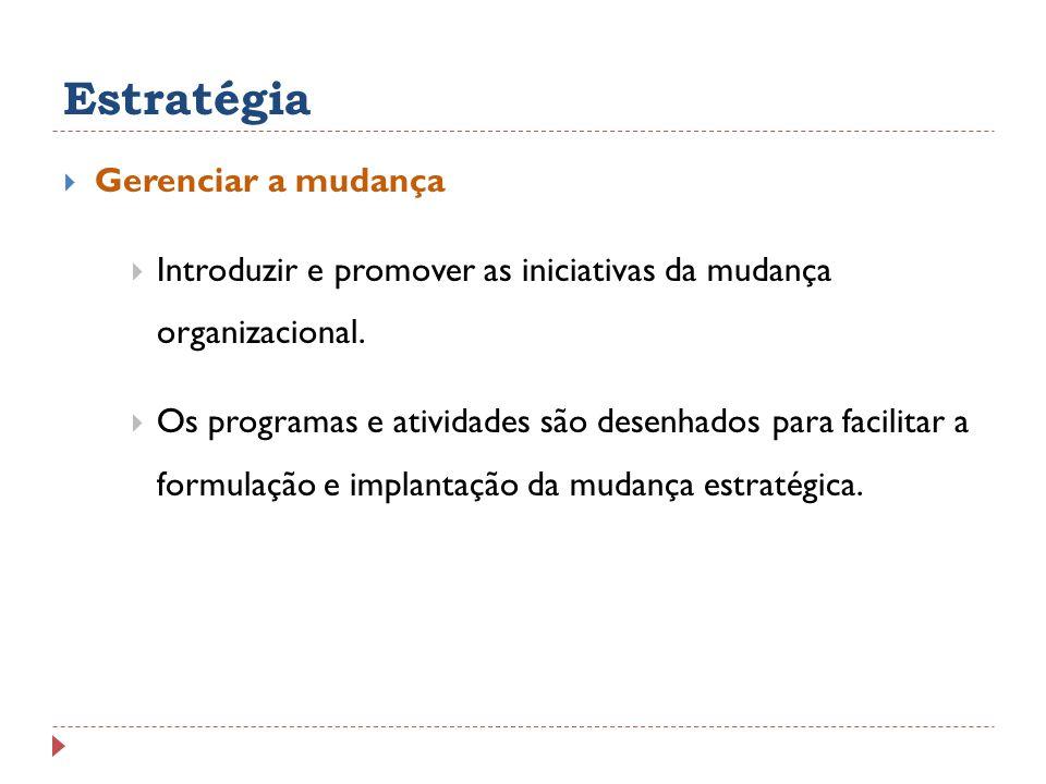 Estratégia Gerenciar a mudança Introduzir e promover as iniciativas da mudança organizacional. Os programas e atividades são desenhados para facilitar