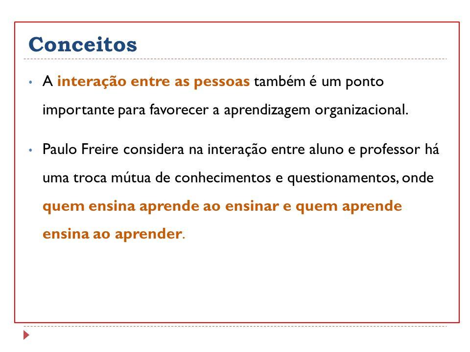 Conceitos A interação entre as pessoas também é um ponto importante para favorecer a aprendizagem organizacional. Paulo Freire considera na interação