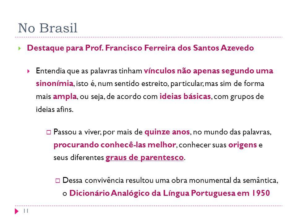 No Brasil 11 Destaque para Prof. Francisco Ferreira dos Santos Azevedo Entendia que as palavras tinham vínculos não apenas segundo uma sinonímia, isto