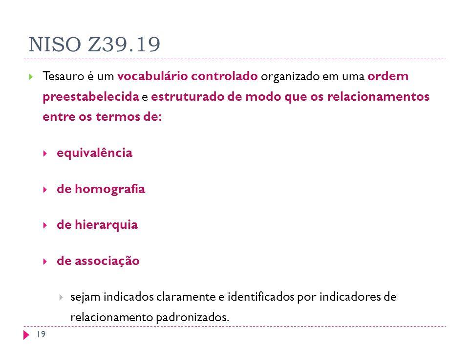NISO Z39.19 Tesauro é um vocabulário controlado organizado em uma ordem preestabelecida e estruturado de modo que os relacionamentos entre os termos de: equivalência de homografia de hierarquia de associação sejam indicados claramente e identificados por indicadores de relacionamento padronizados.
