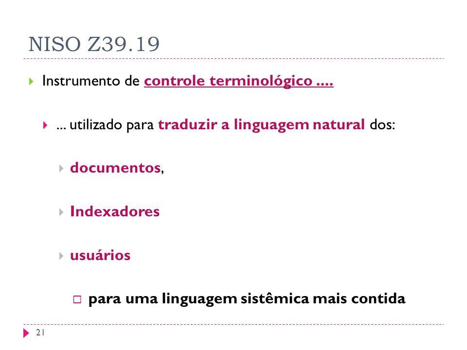 NISO Z39.19 Instrumento de controle terminológico....... utilizado para traduzir a linguagem natural dos: documentos, Indexadores usuários para uma li