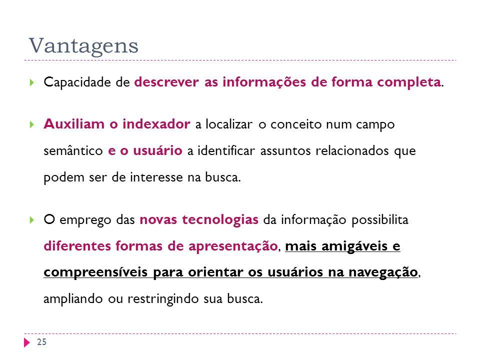 Vantagens Capacidade de descrever as informações de forma completa. Auxiliam o indexador a localizar o conceito num campo semântico e o usuário a iden