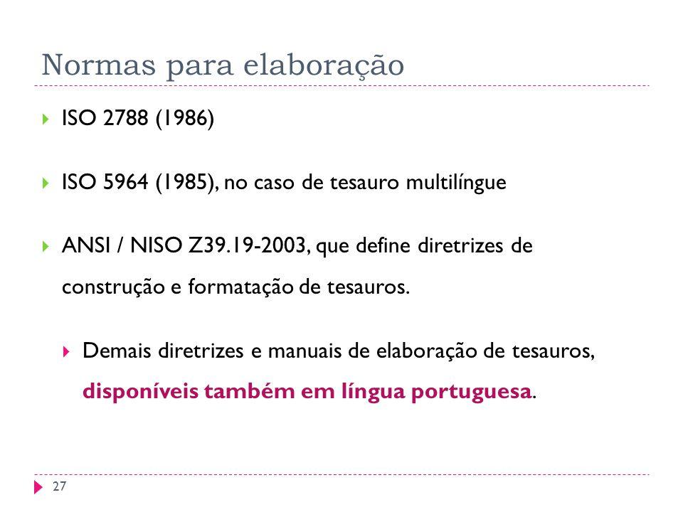 Normas para elaboração ISO 2788 (1986) ISO 5964 (1985), no caso de tesauro multilíngue ANSI / NISO Z39.19-2003, que define diretrizes de construção e