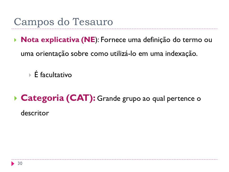 Campos do Tesauro Nota explicativa (NE): Fornece uma definição do termo ou uma orientação sobre como utilizá-lo em uma indexação. É facultativo Catego