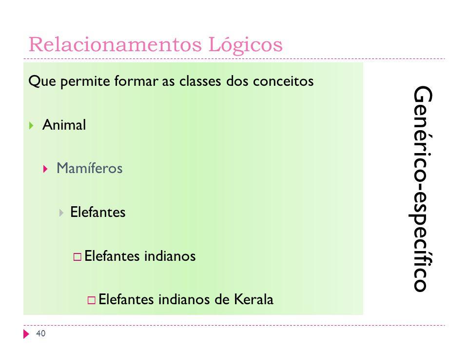 Relacionamentos Lógicos Que permite formar as classes dos conceitos Animal Mamíferos Elefantes Elefantes indianos Elefantes indianos de Kerala Genérico-específico 40
