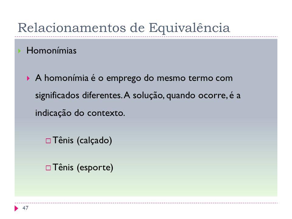 Relacionamentos de Equivalência Homonímias A homonímia é o emprego do mesmo termo com significados diferentes. A solução, quando ocorre, é a indicação