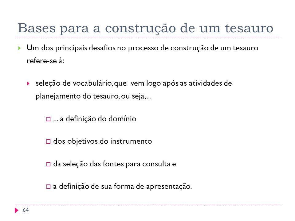 Bases para a construção de um tesauro Um dos principais desafios no processo de construção de um tesauro refere-se à: seleção de vocabulário, que vem