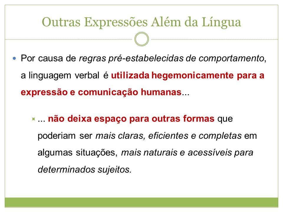 Outras Expressões Além da Língua Por causa de regras pré-estabelecidas de comportamento, a linguagem verbal é utilizada hegemonicamente para a express