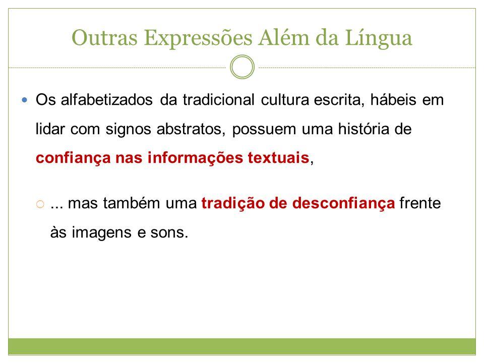 Outras Expressões Além da Língua Os alfabetizados da tradicional cultura escrita, hábeis em lidar com signos abstratos, possuem uma história de confia