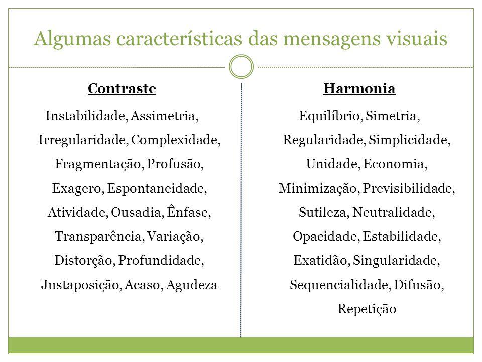 Algumas características das mensagens visuais Contraste Instabilidade, Assimetria, Irregularidade, Complexidade, Fragmentação, Profusão, Exagero, Espo
