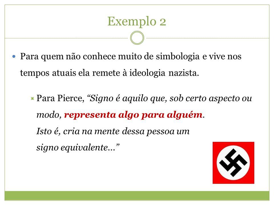 Exemplo 2 Para quem não conhece muito de simbologia e vive nos tempos atuais ela remete à ideologia nazista. Para Pierce, Signo é aquilo que, sob cert