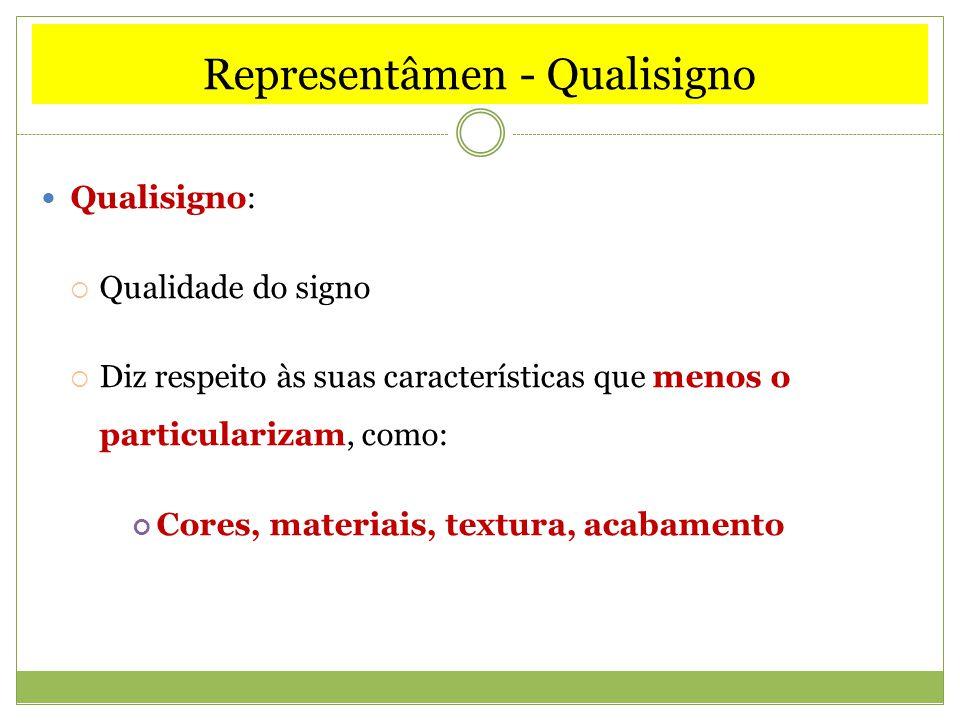 Representâmen - Qualisigno Qualisigno: Qualidade do signo Diz respeito às suas características que menos o particularizam, como: Cores, materiais, tex