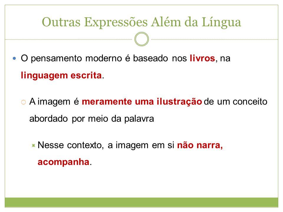 Outras Expressões Além da Língua O pensamento moderno é baseado nos livros, na linguagem escrita. A imagem é meramente uma ilustração de um conceito a