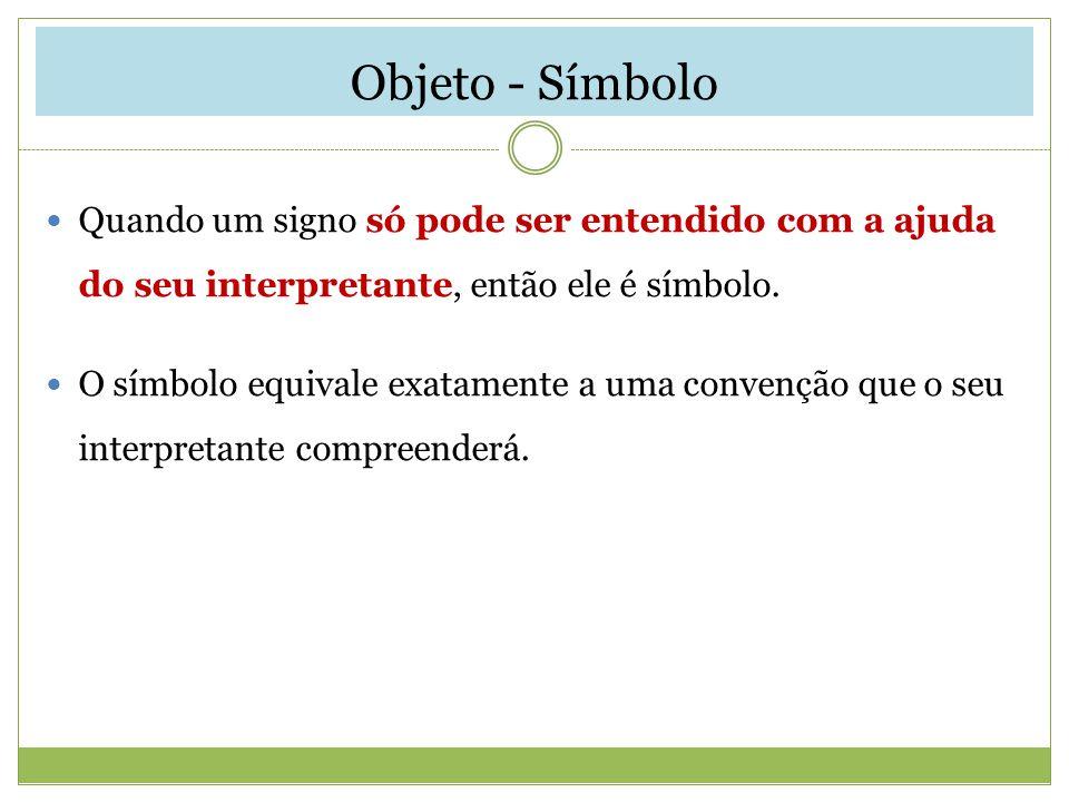 Objeto - Símbolo Quando um signo só pode ser entendido com a ajuda do seu interpretante, então ele é símbolo. O símbolo equivale exatamente a uma conv